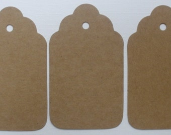 4 LARGE SCALLOP TAGS --  Raw CHiPBOARD Unfinished Bare Die Cuts - 4""