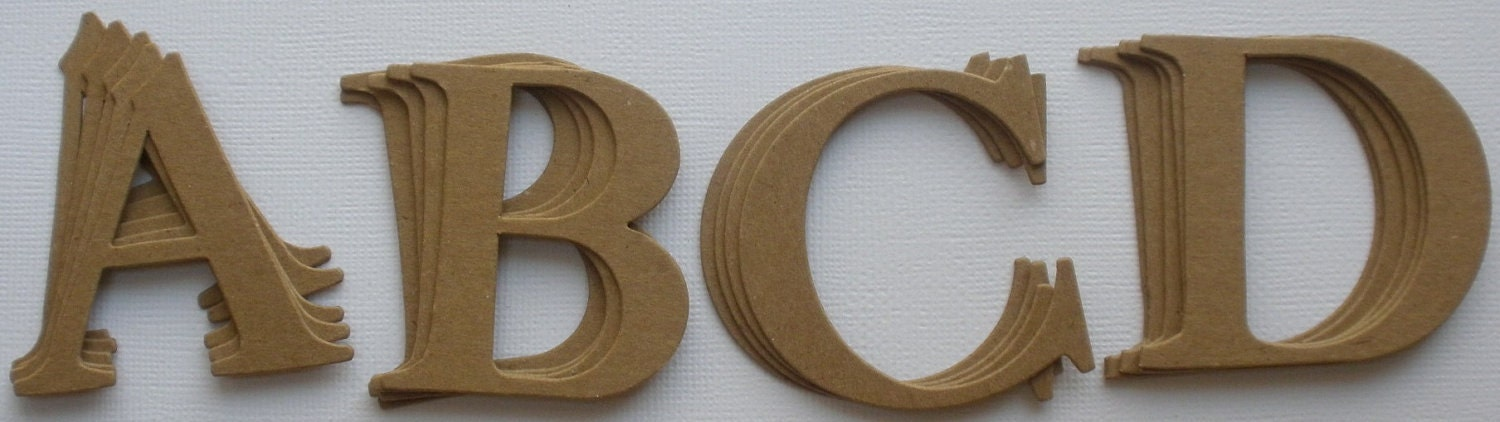 2 elegant font chipboard letter die cuts by glitterdustdesigns for Where to buy chipboard letters