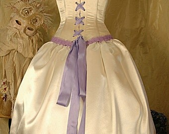 Alice inspired in ivory and Lavender, satin wedding dress with steel boned corset