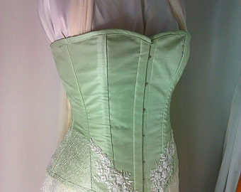 Titania - Cutom made sage green ethereal gown with lace and chiffon and a steel boned corset
