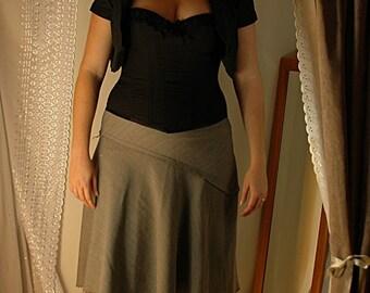 Classic black cotton steel boned corset
