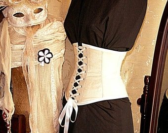CUSTOM MADE Cream antiqued cotton front lacing waspie corset