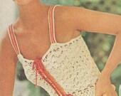 Vintage 1970s Boho Top Shirt Crochet Peplum Camisole Pattern PDF 7607 70s Beach Wear Beachwear Corset Bust 30 32 34 36 Size XS S M Small