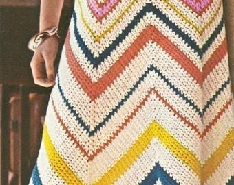 Crochet Chevron Baby Dress Pattern : Vintage 1970s Boho Dress Chevron Crochet Maxi Sun Beach ...