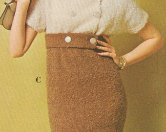 Vintage 1960s 2 Tone Empire Dress Knitting Pattern PDF 6714