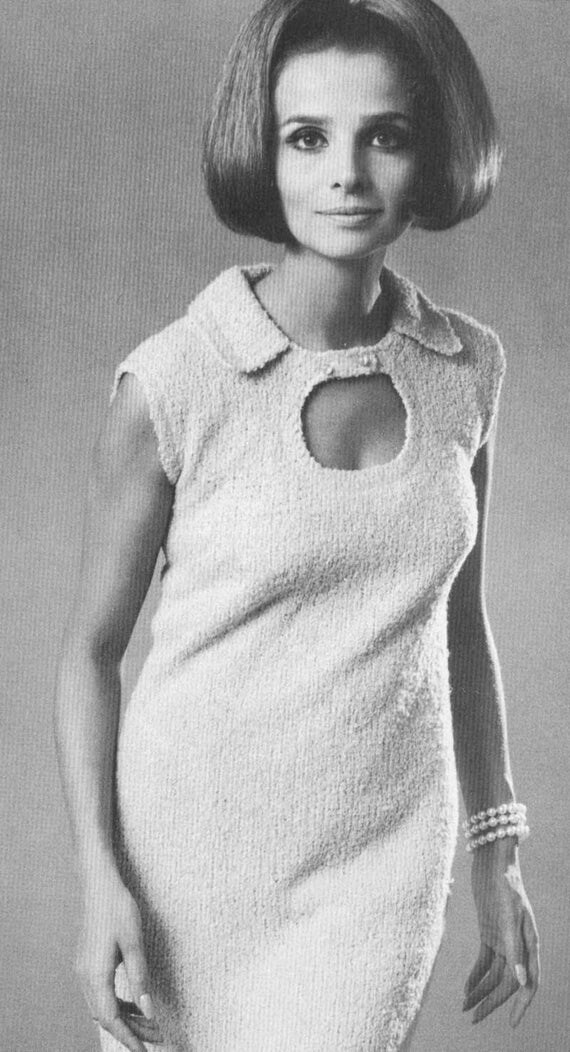 Vintage 1960s Keyhole Skimmer Dress Knitting Pattern PDF 6711