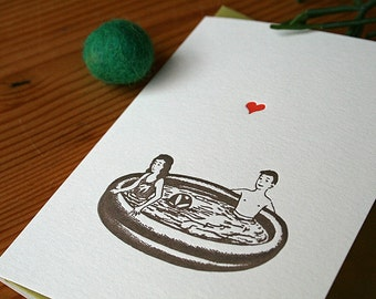 SALE lark press letterpress greeting card with kids in play pool and cute heart MEMORIES