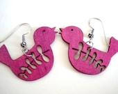 Pink Magenta Wooden Bird Earrings