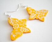 Wooden Yellow Orange Butterfly Earrings
