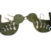 Grey Wooden Bird Earrings