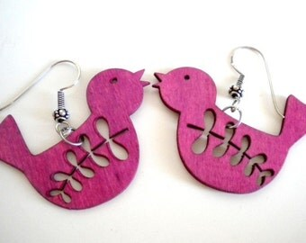 Pink Magenta Wooden Bird Earrings