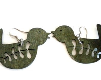 Grey Wooden Bird Earrings