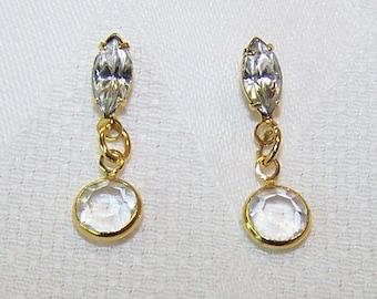Vintage Swarovski Earrings Navette with Drop Crystal