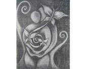 PRINT Transcendent Love, lovers art print, 8x10 art print, soulmate art, heart art, butterfly art print