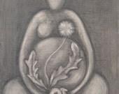 PRINT Dandelion Goddess 2, black and white art, pregnancy art print, dandelion art, goddess art