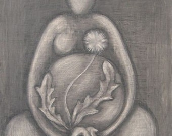 PRINT Dandelion Goddess 2, black and white art, pregnancy art print, dandelion art, goddess art