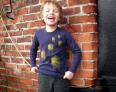 Kids Tshirt Water Towers Long Sleeve in Navy Blue size 2