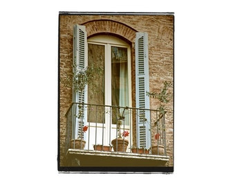 Italy Photograph The Blue Window Architecture Travel Aqua Pinwheels Vintage Style Fine Art Tuscany Shutters Balcony