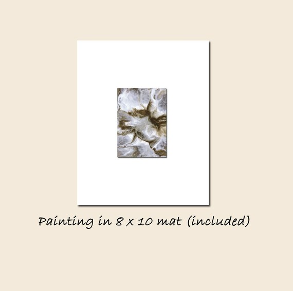 Abstract in Brown and Silver ACEO Painting Enigma Contemporary Landscape Coffee White Matted Original