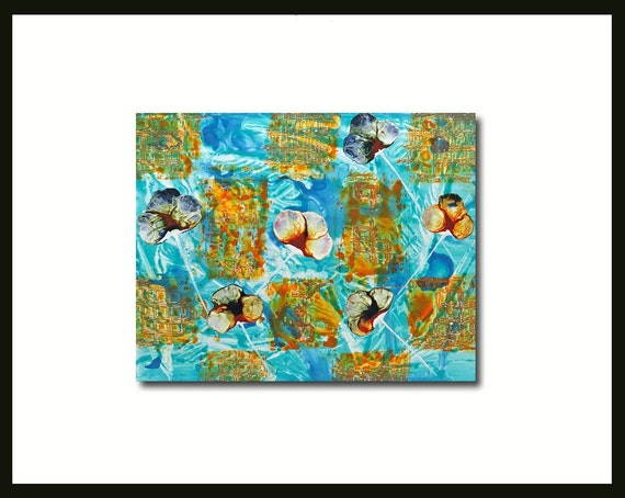 Blue Abstract Painting Flower Patch Water Orange Turquoise Textured Original Yupo