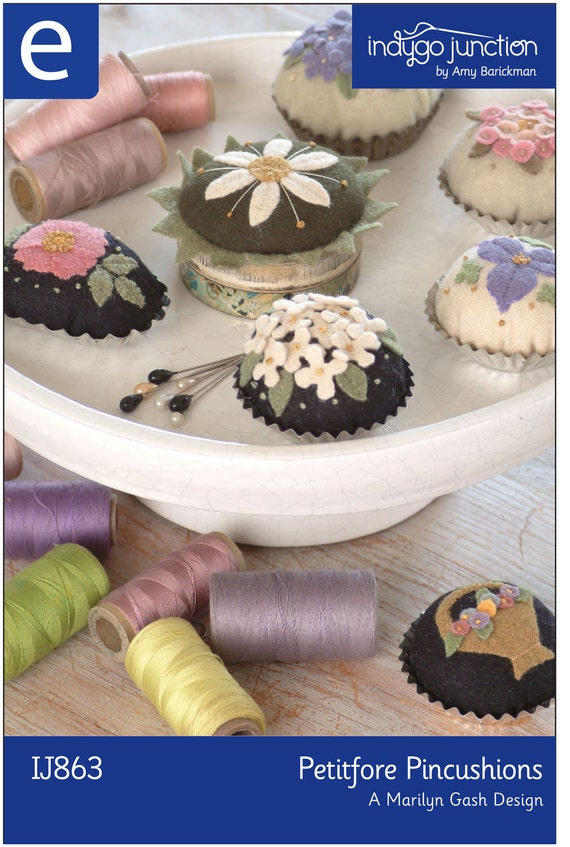 Petitfore Pincushions Digital Sewing Pattern - instructions to create 6 wool felt pincushions with a floral motif using tartlet tins
