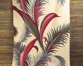 Vintage BARKCLOTH Floral TROPICAL FERNS  long table runner 58 x 18