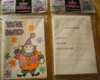 2 Packs of Birthday Party Clown Invites 16 Total