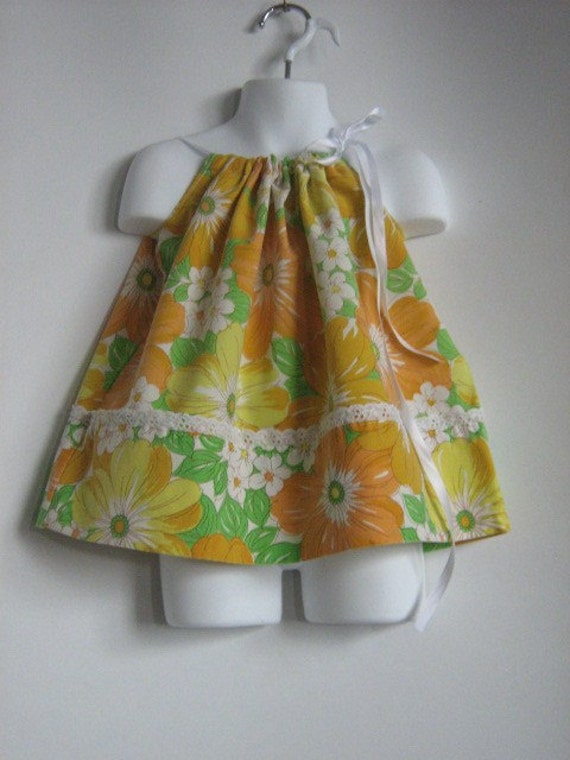 Girls Fall Dress. Upcycled Baby Girl Pillowcase Dress. Size Newborn to 12M. Length 15 inches. Yellow Dress.