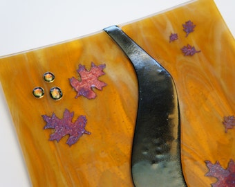 Stunning Fused Glass Plate, Earth Tones, Copper Aspen Leaves, Gold Accents