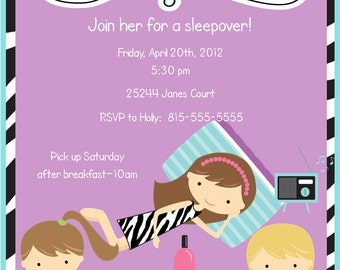 Girls Zebra Print Sleepover Pajama Party Printable Invitation