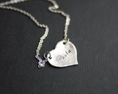 Sterling Silver Heart Necklace-  Personalized jewelry by I Heart This