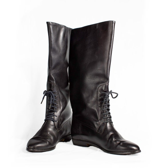 VTG 90's Shiny Black Leather Riding Boots size 6 1/2 with Lace Up Detail Knee High Flats Classic