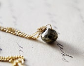 Pyrite Gold Necklace Fools Gold Brown Gemstone Minimalist Pendant Simplistic
