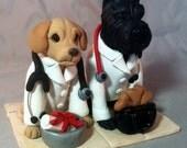 Custom Made 2 Dog Wedding Cake Topper Birthday Graduation Clay Sculpture Veterinarian Vet Veterinary School Schnauzer Corgi Yorkies