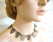 Victorian inspired necklace antique brass with crystals- Candle Light Pavillion Ball