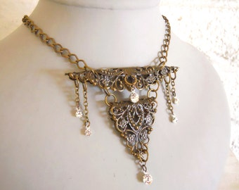Antique brass necklace Victorian inspired Masquerade necklace antique filigree ornaments brass and crystals