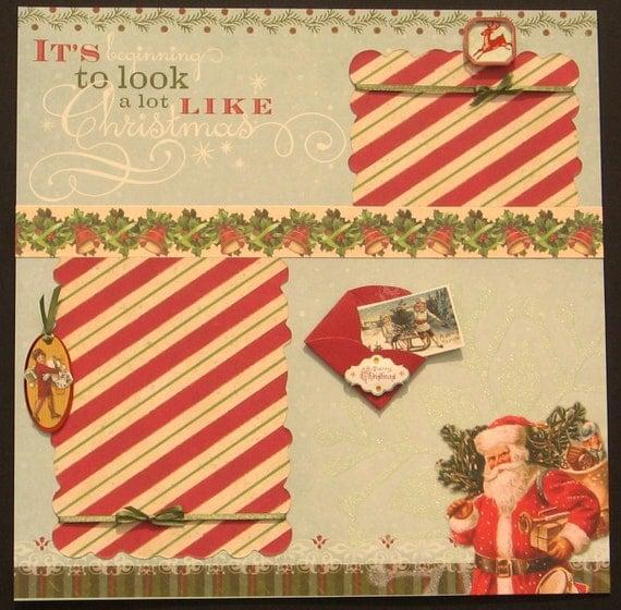 Christmas Santa Premade 12x12 single page layout, Christmas Layout