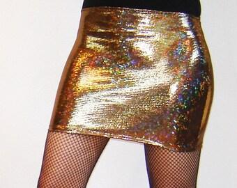 Shiny Holographic Mini Booty Skirt