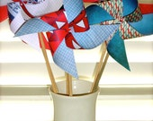 PINWHEELS  Independence Day Stars and Stripes 4th of July 6 Large Twirlable Pinwheels Table Patriotic Decorations