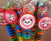 Valentine Panda Favors, Candy Treat Bags, Set of 12