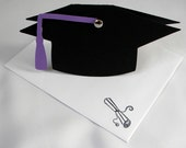 Graduation Card - Black Cap, Customize in your School Colors, Personalized