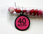 40th Birthday Candy Treat Bag Favors - 40 Rocks, Hot Pink and Black, Set of12