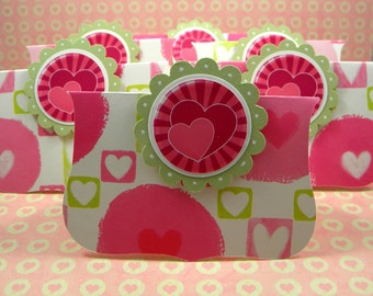 Heart Valentine Treat Bag Toppers,  Set of 6, Pink, Green