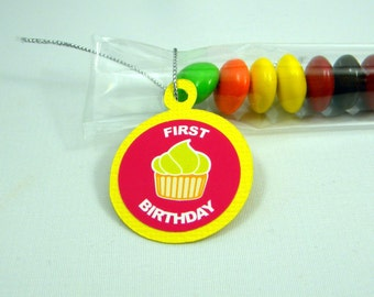 1st Birthday Favors with Cupcake, Set of 12