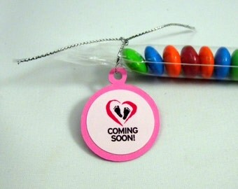 Baby Girl Shower Favors, Candy Treat Bags - Coming Soon, Set of 12