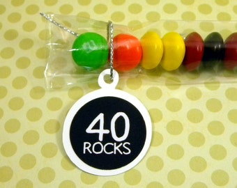 40th Birthday Candy Treat Bag Favors - 40 Rocks Set of 12