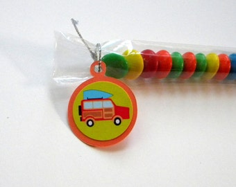 Woody Wagon Surfboard Party Favors, Set of 12 - Candy Treat Bags