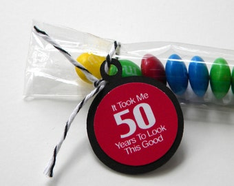 50th Birthday Candy Treat Bag Favors - It Took Me 50 Years to Look This Good, Black, Cherry Red