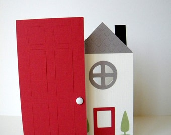 New Home Card, House Warming,White, Red