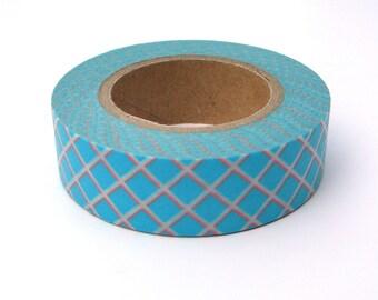 Blue Washi Tape, Japanese Masking, Diagonal Grid, Vitamin Supplement, Mark'sphere